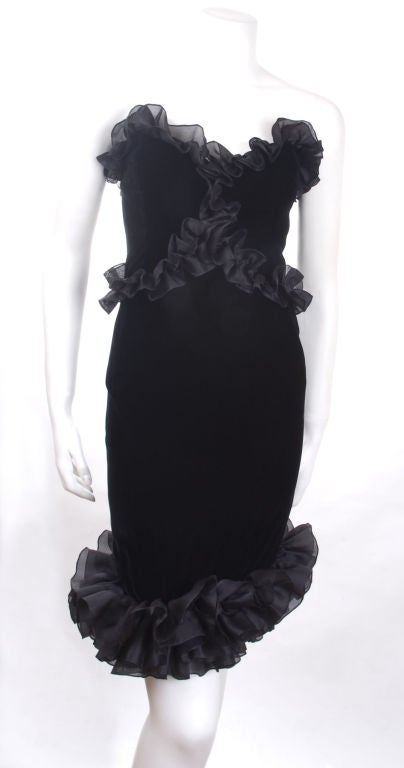 Vintage 1987 Yves Saint Laurent Strapless Black Velvet Cocktail Dress  2