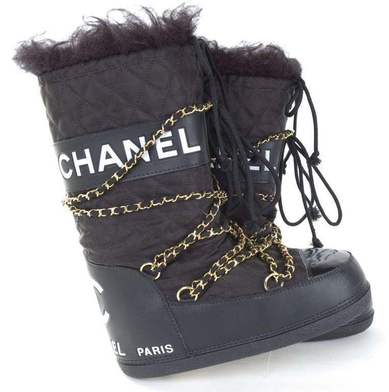 Chanel Apres Ski Moon Boots At 1stdibs