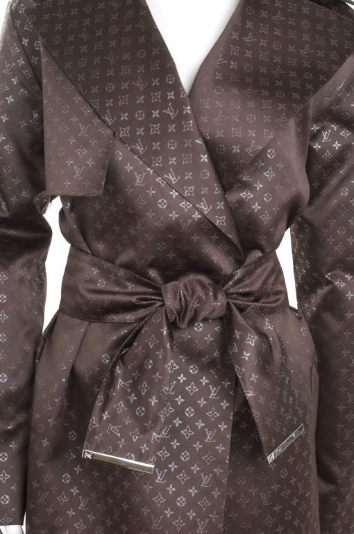louis vuitton monogram satin trench coat limited edition at 1stdibs