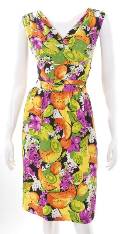 90's Balenciaga Jacquard Silk Dress with Tropical Print 2