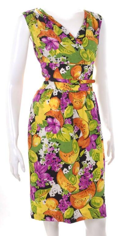 90's Balenciaga Jacquard Silk Dress with Tropical Print 4