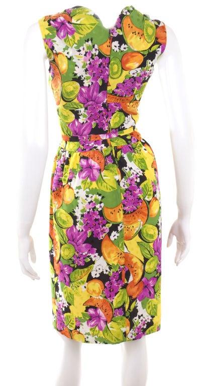 90's Balenciaga Jacquard Silk Dress with Tropical Print 5