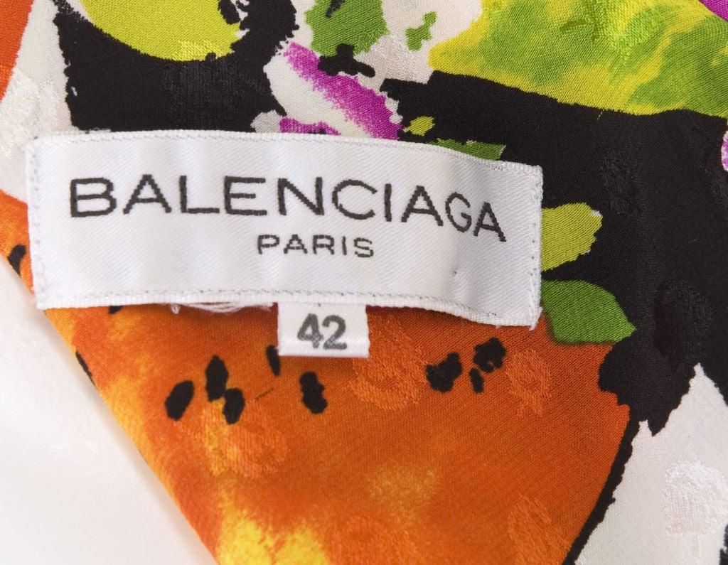 90's Balenciaga Jacquard Silk Dress with Tropical Print 6