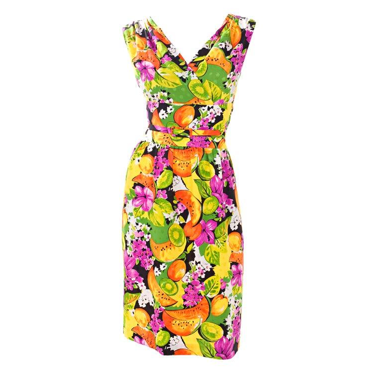90's Balenciaga Jacquard Silk Dress with Tropical Print 1