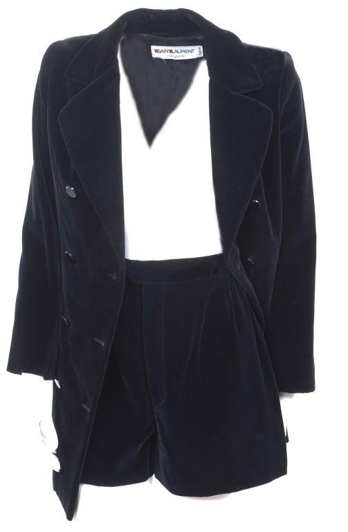 70's Saint Laurent Velvet Hot Pants Suit 5