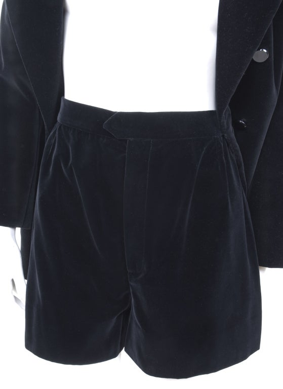 70's Saint Laurent Velvet Hot Pants Suit 6