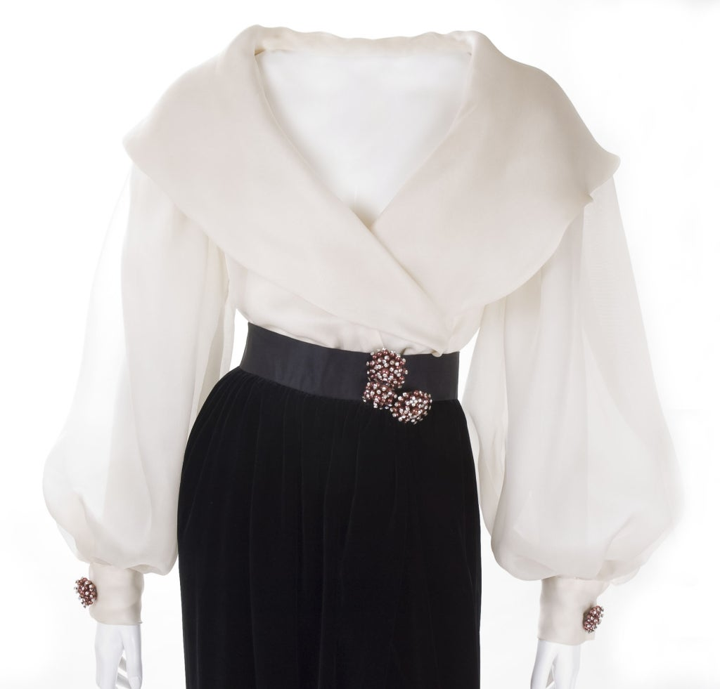 White Silk Evening Blouses 64