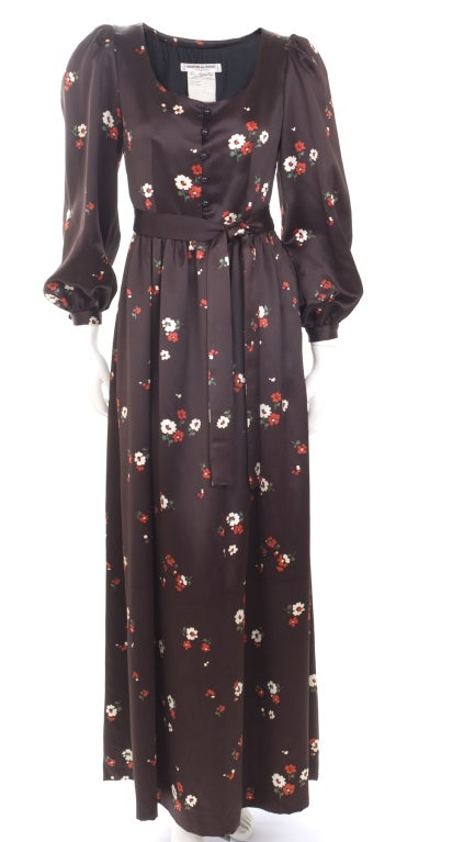 1969 Yves Saint Laurent Maxi Satin Dress In Brown with Flower Print 2