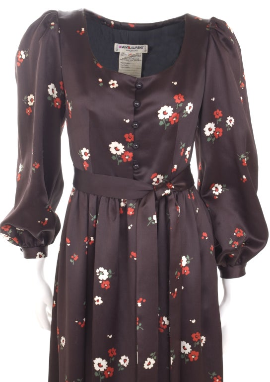 Black 1969 Yves Saint Laurent Maxi Satin Dress In Brown with Flower Print For Sale