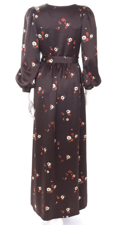 1969 Yves Saint Laurent Maxi Satin Dress In Brown with Flower Print In Excellent Condition For Sale In Hamburg, DE