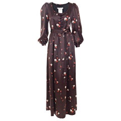 1969 Yves Saint Laurent Maxi Satin Dress In Brown with Flower Print