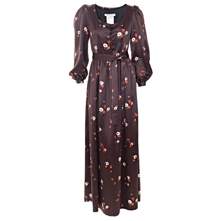 1969 Yves Saint Laurent Maxi Satin Dress In Brown with Flower Print For Sale