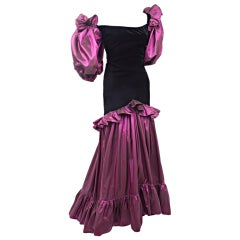 Vintage Yves Saint Laurent Orchid Taffeta and Black Velvet Evening Dress