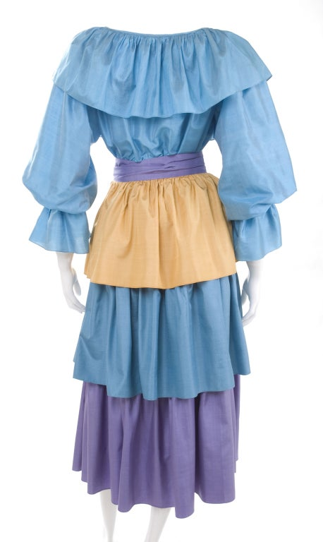 Women's 80's Yves Saint Laurent  Silk Gypsy Blouse & Skirt Ensemble For Sale