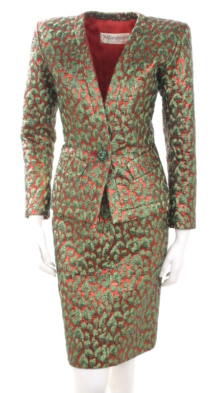 80's Vintage Yves Saint Laurent HAUTE COUTURE Brocade Suit 2