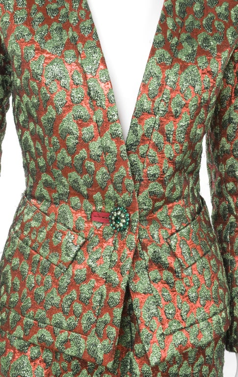 80's Vintage Yves Saint Laurent HAUTE COUTURE Brocade Suit 3