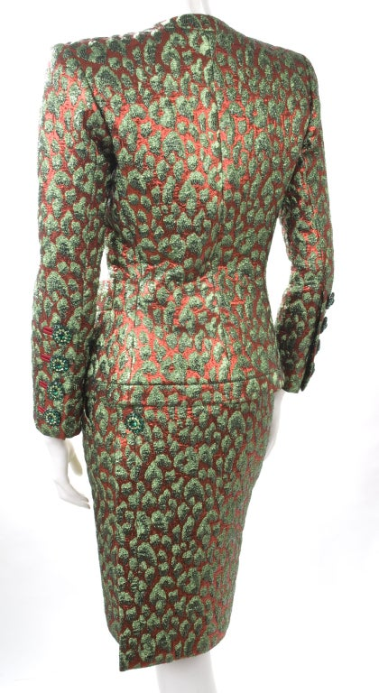 80's Vintage Yves Saint Laurent HAUTE COUTURE Brocade Suit 5