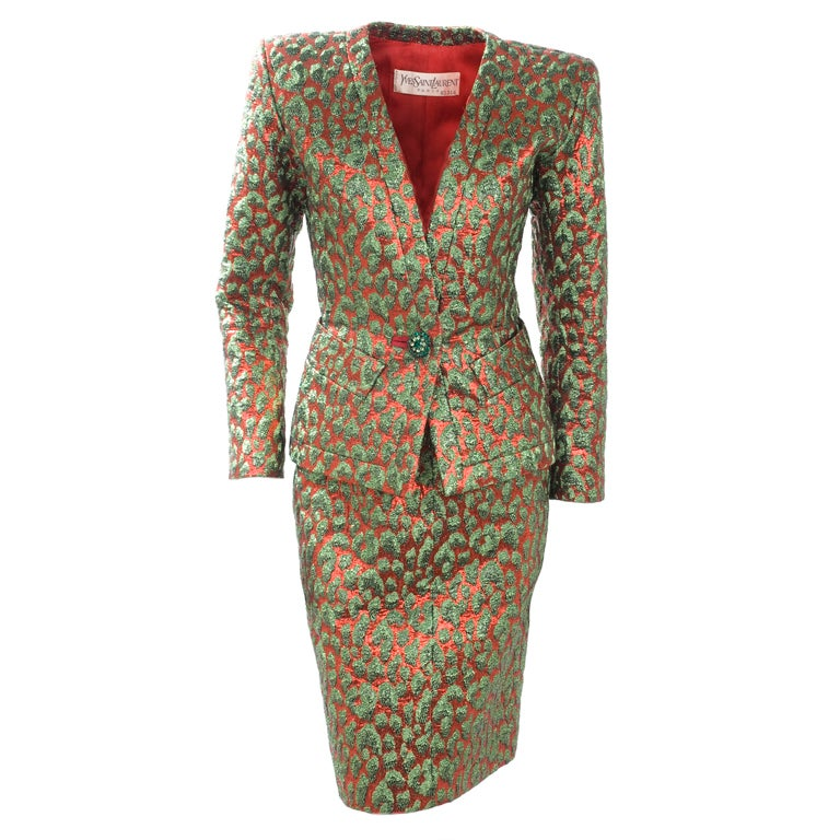 80's Vintage Yves Saint Laurent HAUTE COUTURE Brocade Suit 1