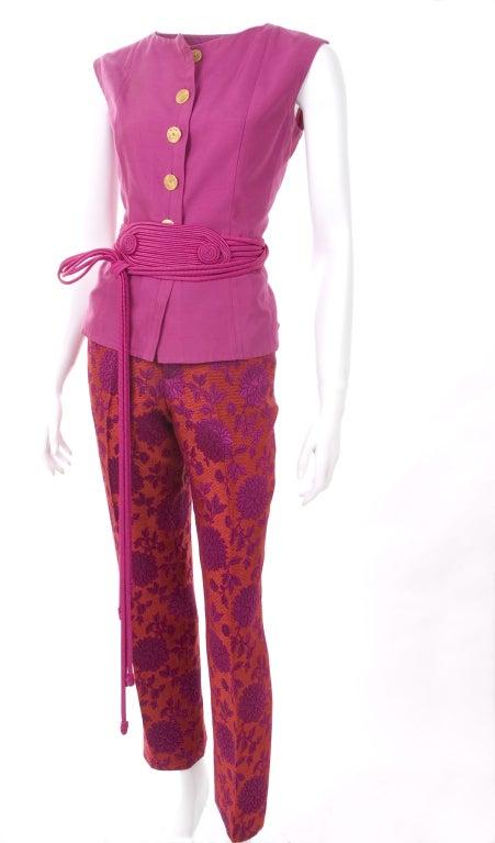 Vintage 80's Yves Saint Laurent Blouse,Pants and Belt 3
