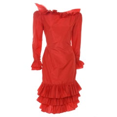 80's Vintage Bill Blass Couture Red Silk Taffeta Dress Beautiful Back Detail