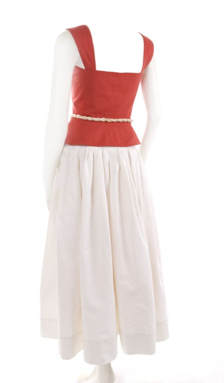 1977 YSL Red Top and White Skirt Ensemble 8