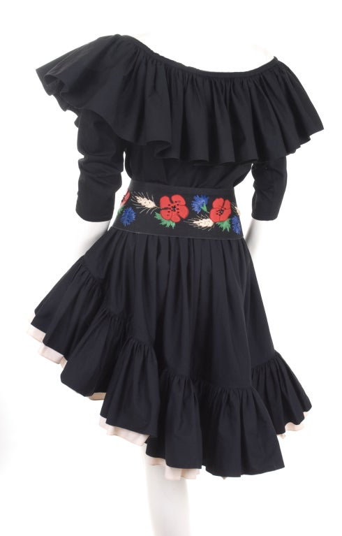 80's YSL Black Cotton Gypsy Skirt, Blouse and Embroidered Belt 2