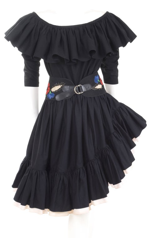 80's YSL Black Cotton Gypsy Skirt, Blouse and Embroidered Belt 3