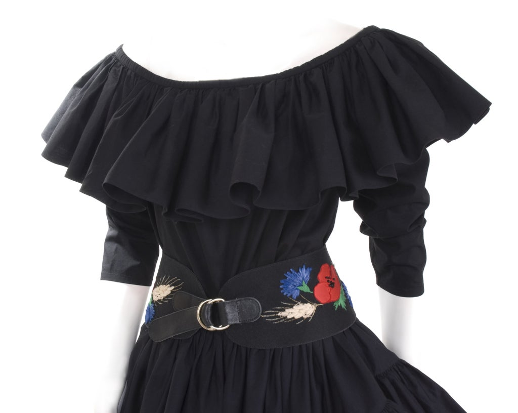 80's YSL Black Cotton Gypsy Skirt, Blouse and Embroidered Belt 5