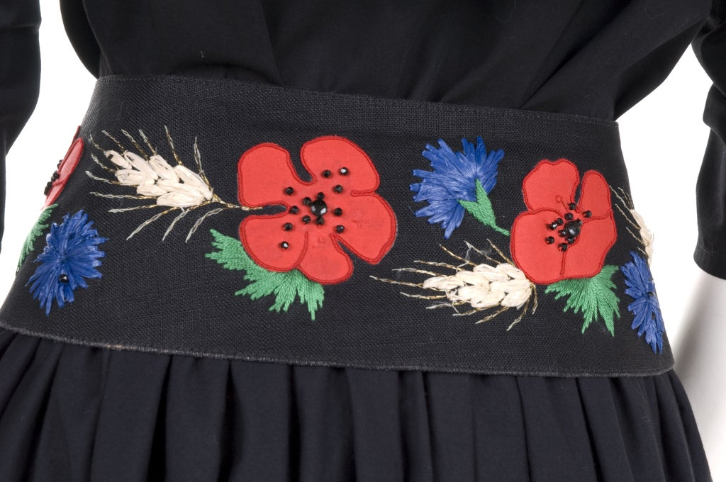 80's YSL Black Cotton Gypsy Skirt, Blouse and Embroidered Belt 6