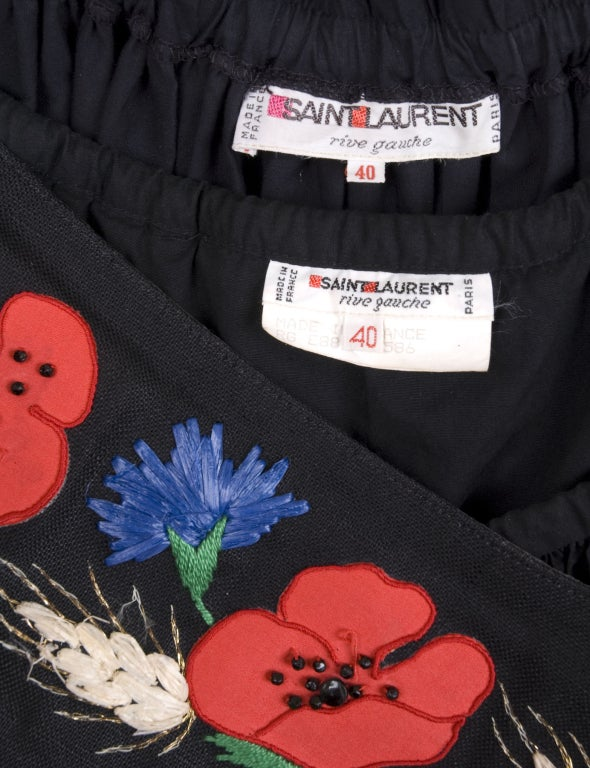 80's YSL Black Cotton Gypsy Skirt, Blouse and Embroidered Belt 8