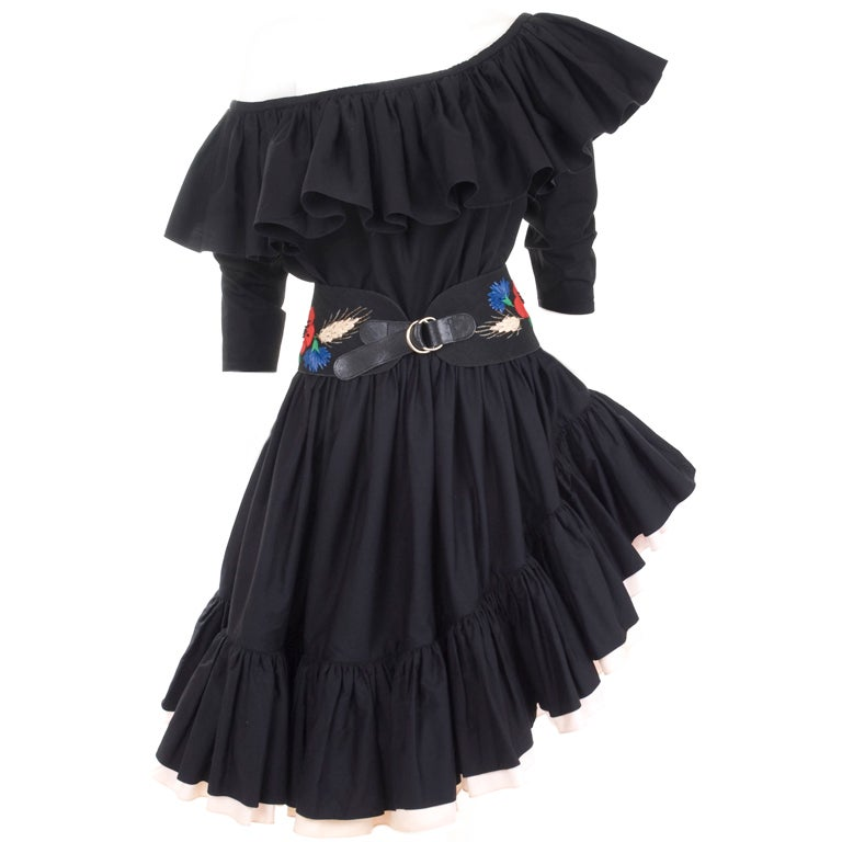 80's YSL Black Cotton Gypsy Skirt, Blouse and Embroidered Belt