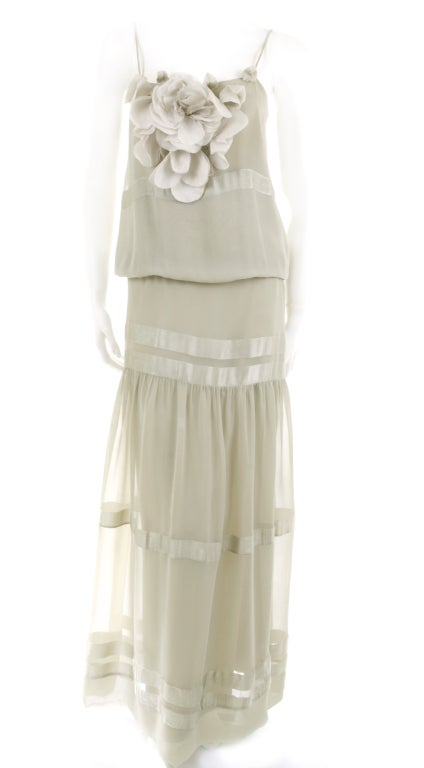 70's Chloe Silk Evening Dress Pale Sage Green with Large Flower 2