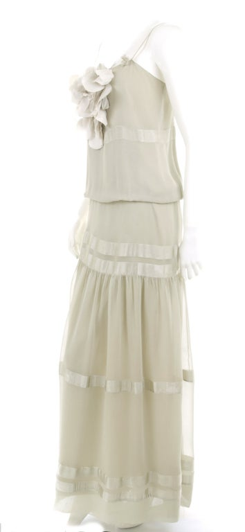 70's Chloe Silk Evening Dress Pale Sage Green with Large Flower 4