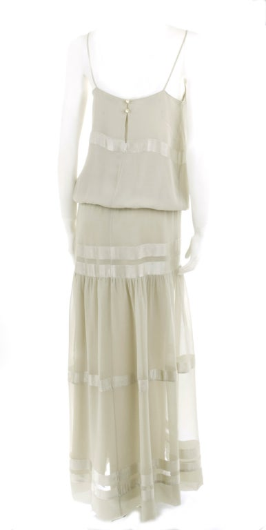 70's Chloe Silk Evening Dress Pale Sage Green with Large Flower 5
