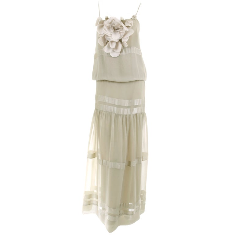 70's Chloe Silk Evening Dress Pale Sage Green with Large Flower 1