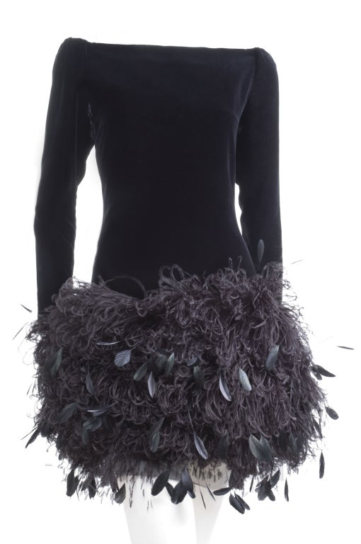 1988 Yves Saint Laurent Velvet Dress with Feathers image 2