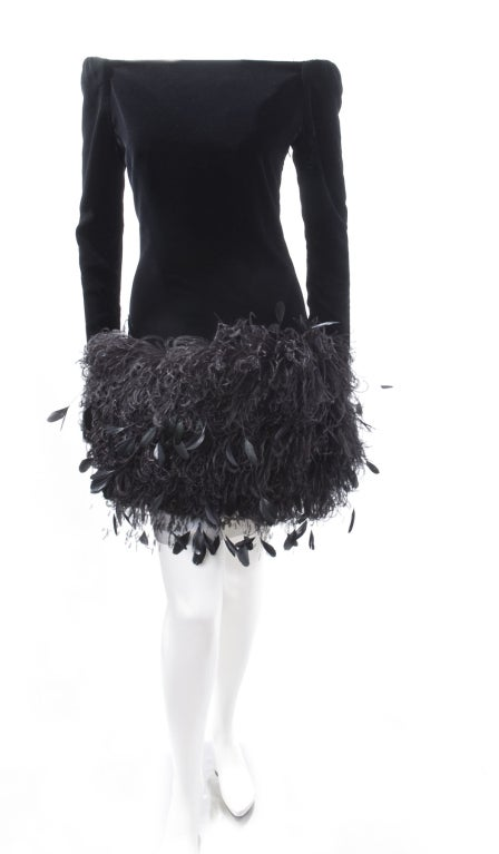 1988 Yves Saint Laurent Velvet Dress with Feathers image 3