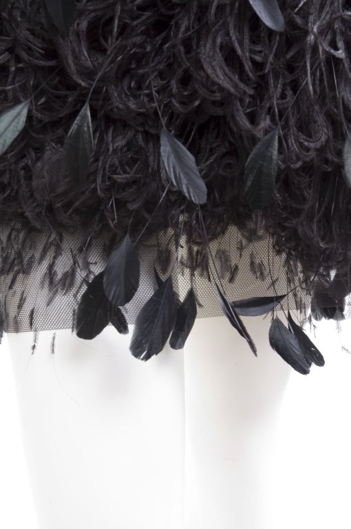 1988 Yves Saint Laurent Velvet Dress with Feathers image 5