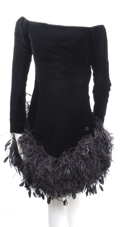 1988 Yves Saint Laurent Velvet Dress with Feathers image 6