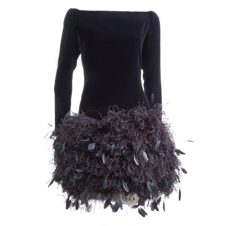 1988 Yves Saint Laurent Velvet Dress with Feathers