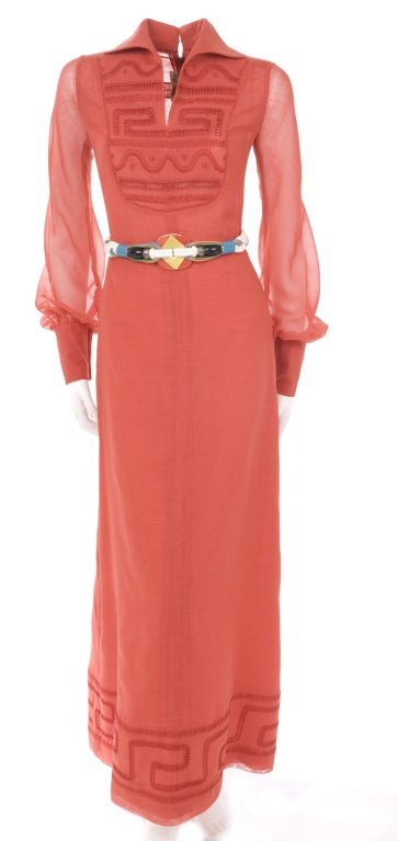 70's Ted Lapidus Red Batiste Maxi Dress 2