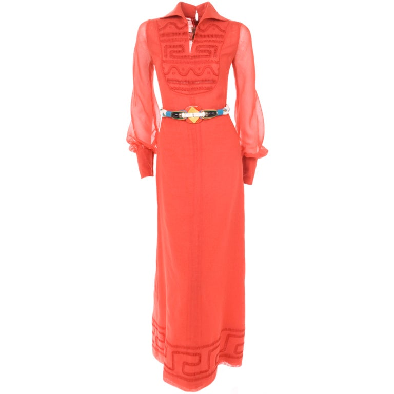 70's Ted Lapidus Red Batiste Maxi Dress For Sale