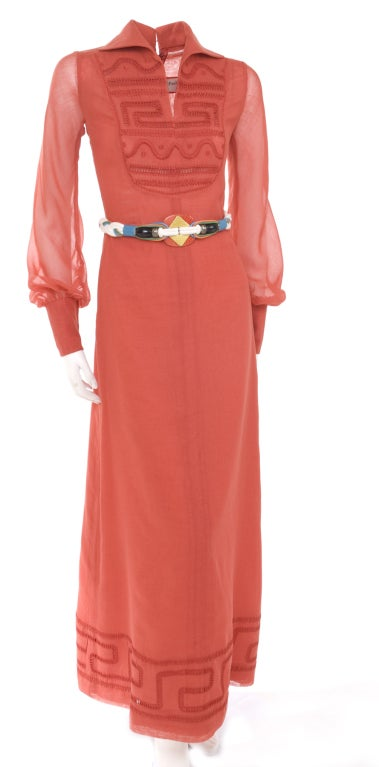70's Ted Lapidus Red Batiste Maxi Dress In Excellent Condition For Sale In Hamburg, DE