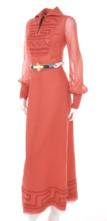 70's Ted Lapidus Red Batiste Maxi Dress 7