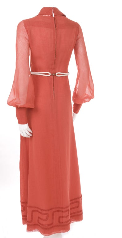 70's Ted Lapidus Red Batiste Maxi Dress For Sale 4