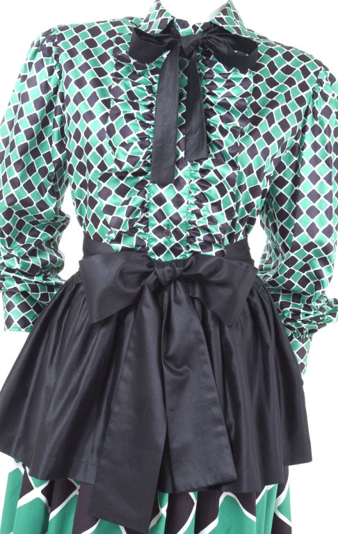 70's Yves Saint Laurent Harlequin 2 Piece Dress 3
