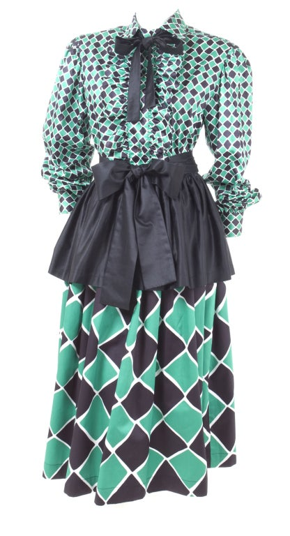 70's Yves Saint Laurent Harlequin 2 Piece Dress 5
