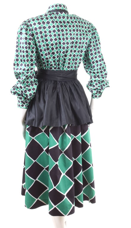 70's Yves Saint Laurent Harlequin 2 Piece Dress 6