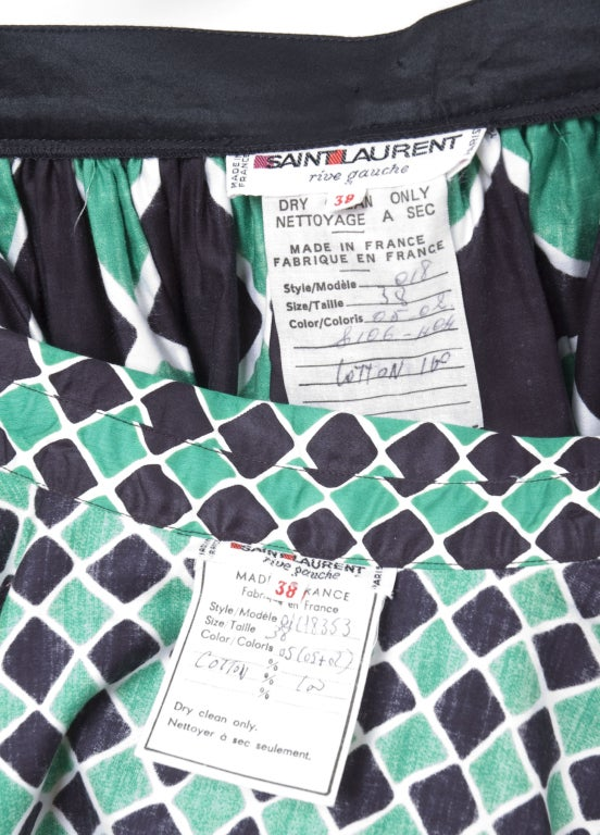 70's Yves Saint Laurent Harlequin 2 Piece Dress 7