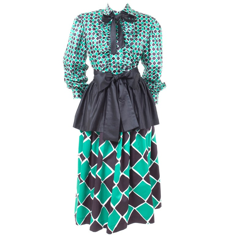 70's Yves Saint Laurent Harlequin 2 Piece Dress 1